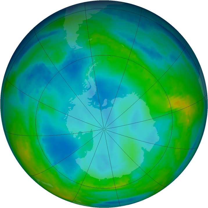 Antarctic ozone map for 27 May 1992