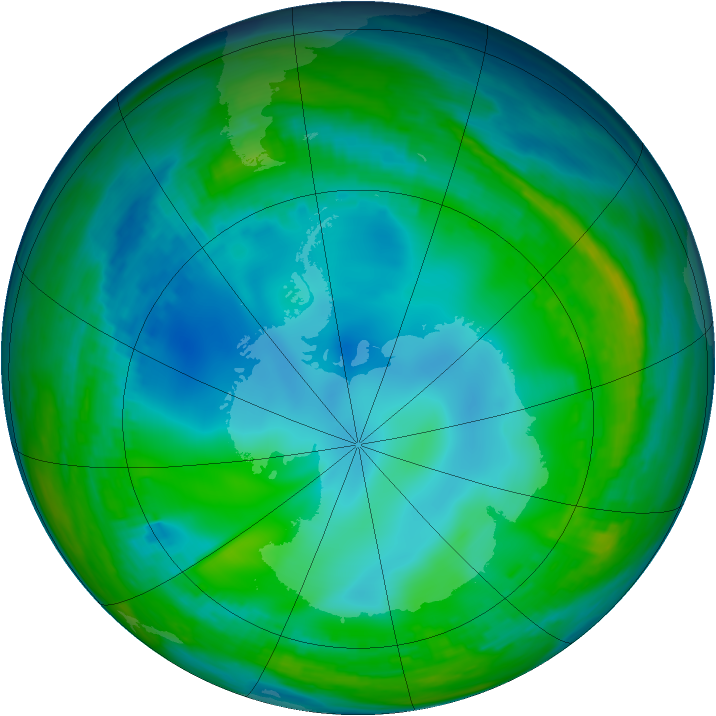 Antarctic ozone map for 30 May 1992
