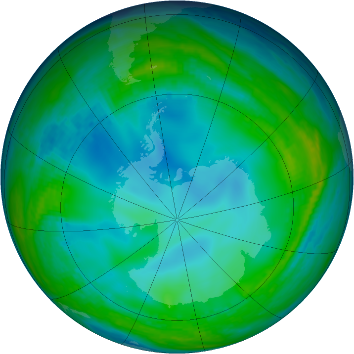 Antarctic ozone map for 31 May 1992