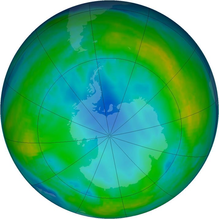 Antarctic ozone map for 03 June 1992