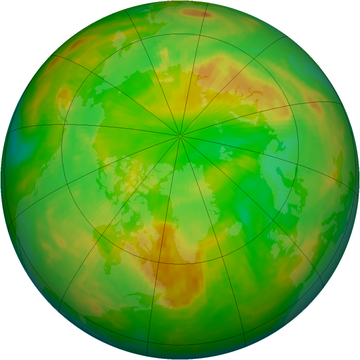 Arctic ozone map for 05 June 1992