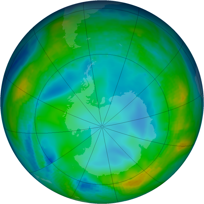Antarctic ozone map for 07 June 1992