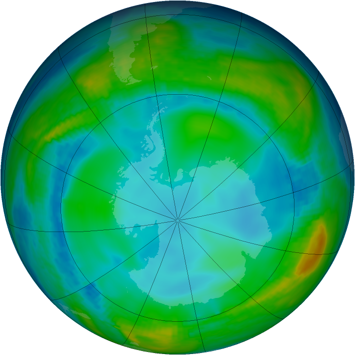 Antarctic ozone map for 09 June 1992