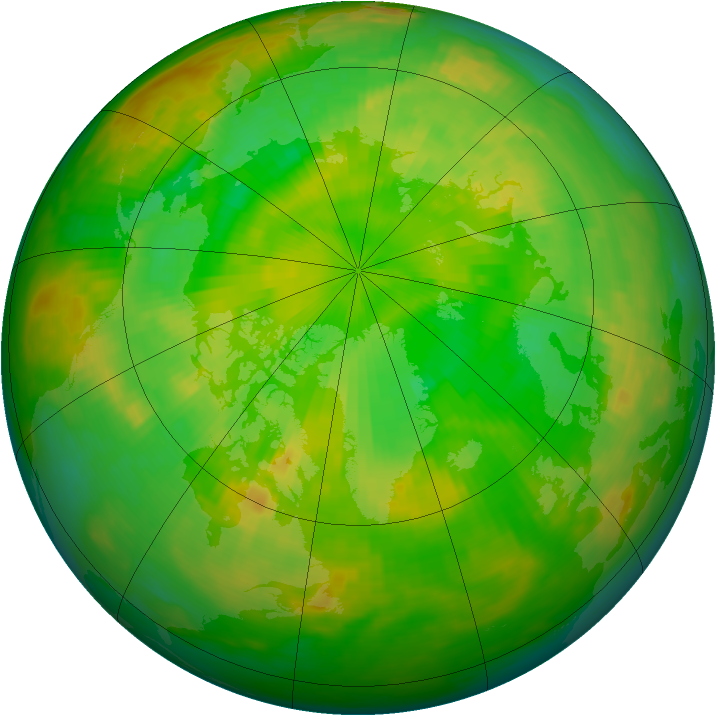 Arctic ozone map for 10 June 1992