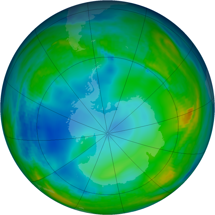 Antarctic ozone map for 13 June 1992