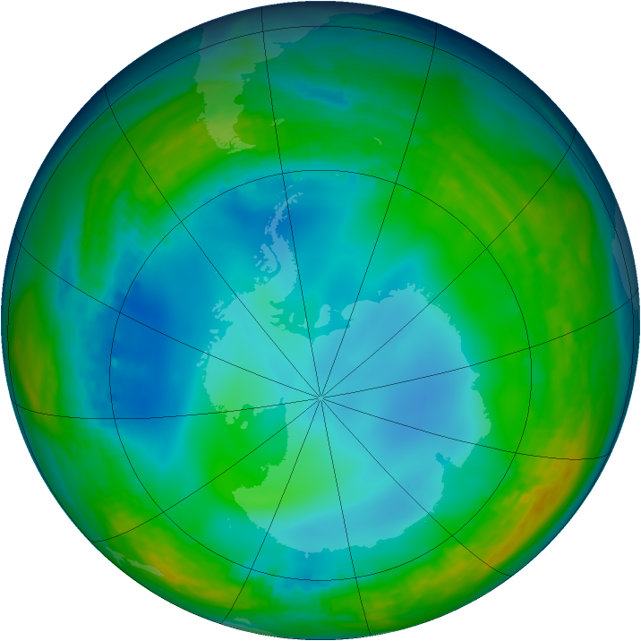 Antarctic ozone map for 17 June 1992
