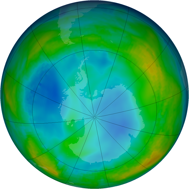 Antarctic ozone map for 18 June 1992