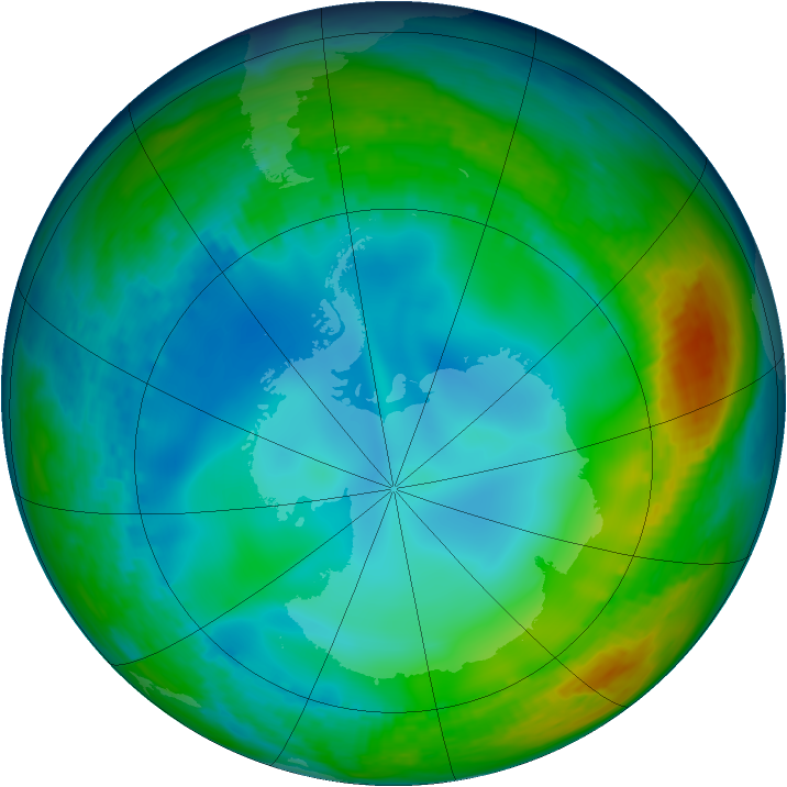 Antarctic ozone map for 22 June 1992