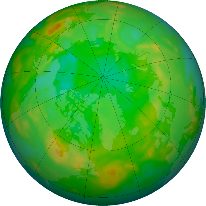 Arctic ozone map for 30 June 1992