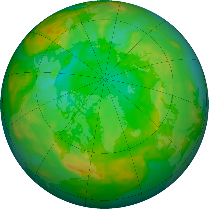Arctic ozone map for 01 July 1992