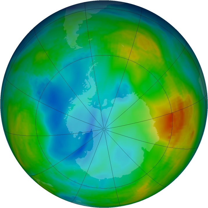 Antarctic ozone map for 01 July 1992