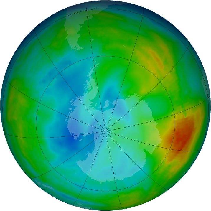 Antarctic ozone map for 02 July 1992