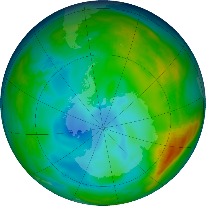 Antarctic ozone map for 03 July 1992