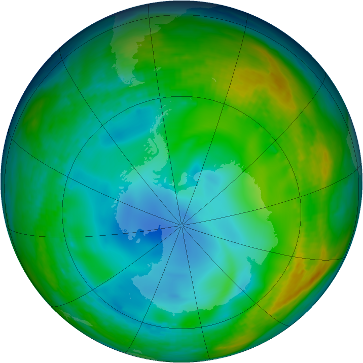 Antarctic ozone map for 04 July 1992