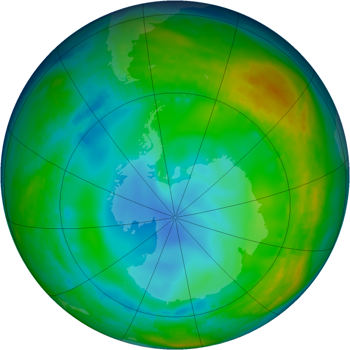 Antarctic ozone map for 05 July 1992