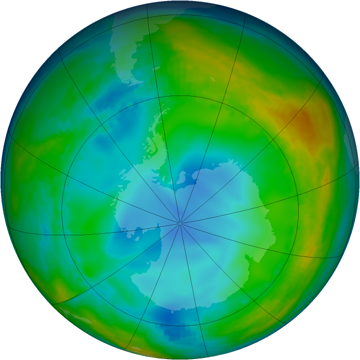 Antarctic ozone map for 06 July 1992