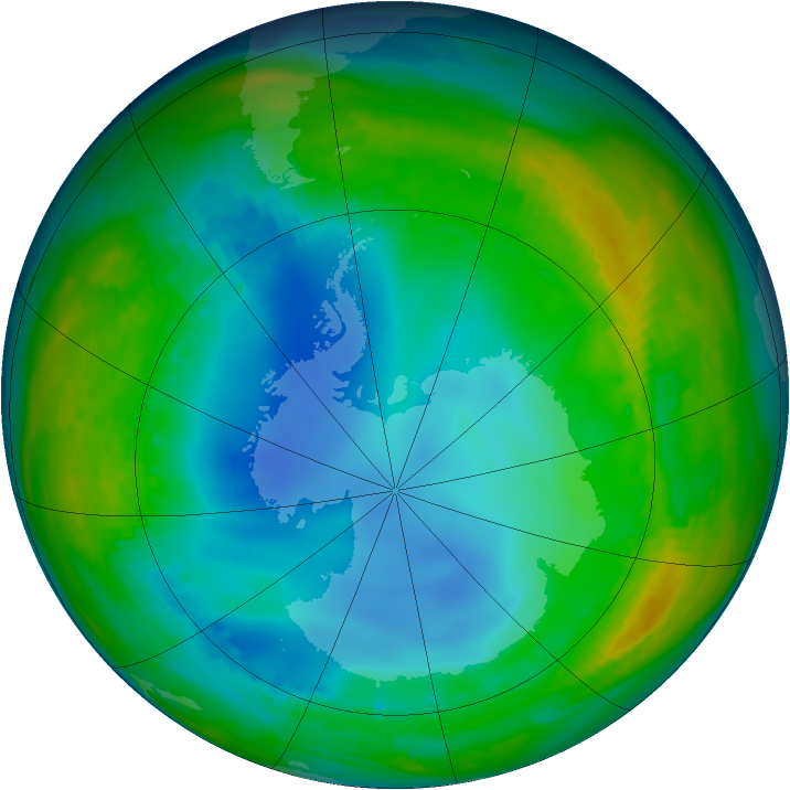 Antarctic ozone map for 13 July 1992