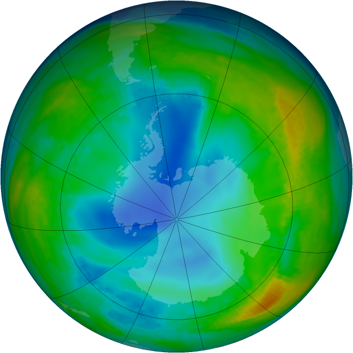 Antarctic ozone map for 14 July 1992