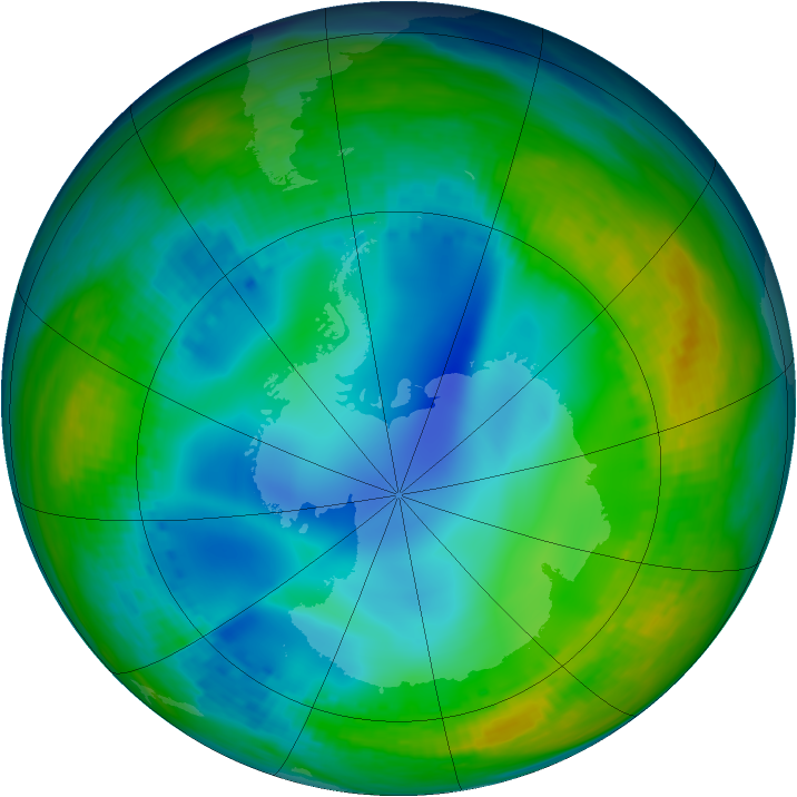 Antarctic ozone map for 15 July 1992