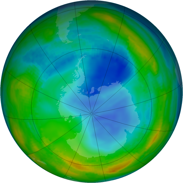 Antarctic ozone map for 23 July 1992