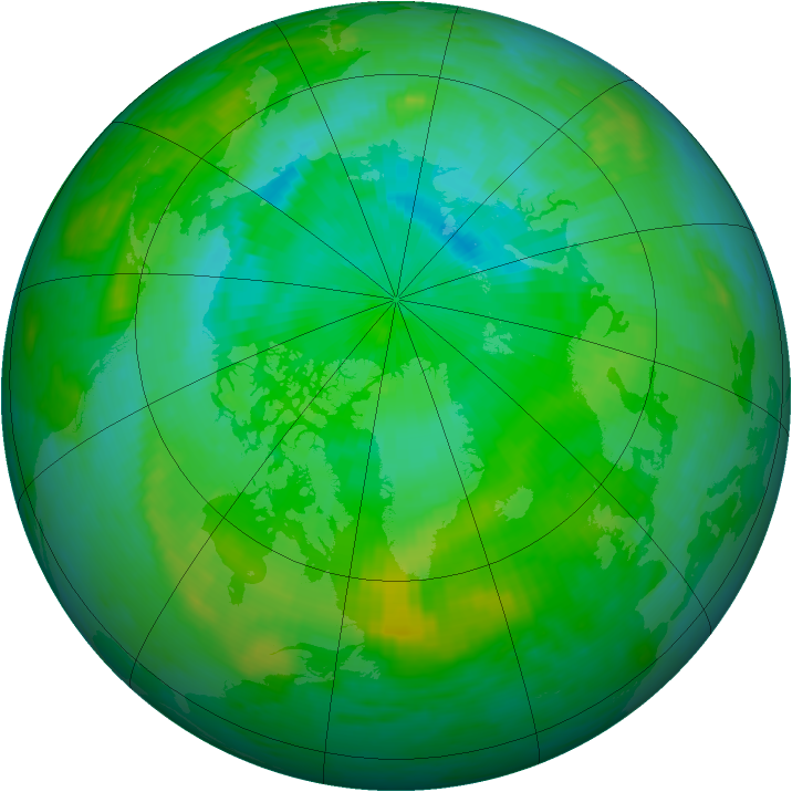 Arctic ozone map for 01 August 1992