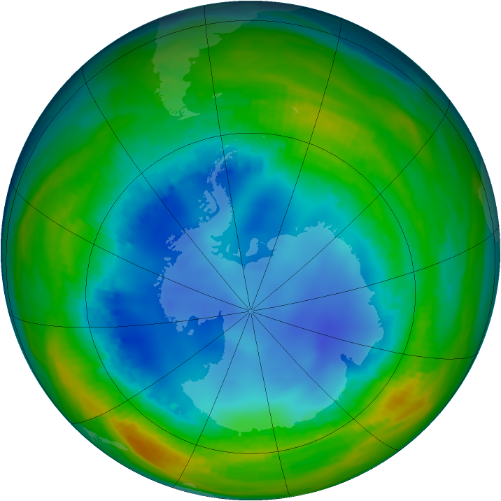 Antarctic ozone map for 02 August 1992