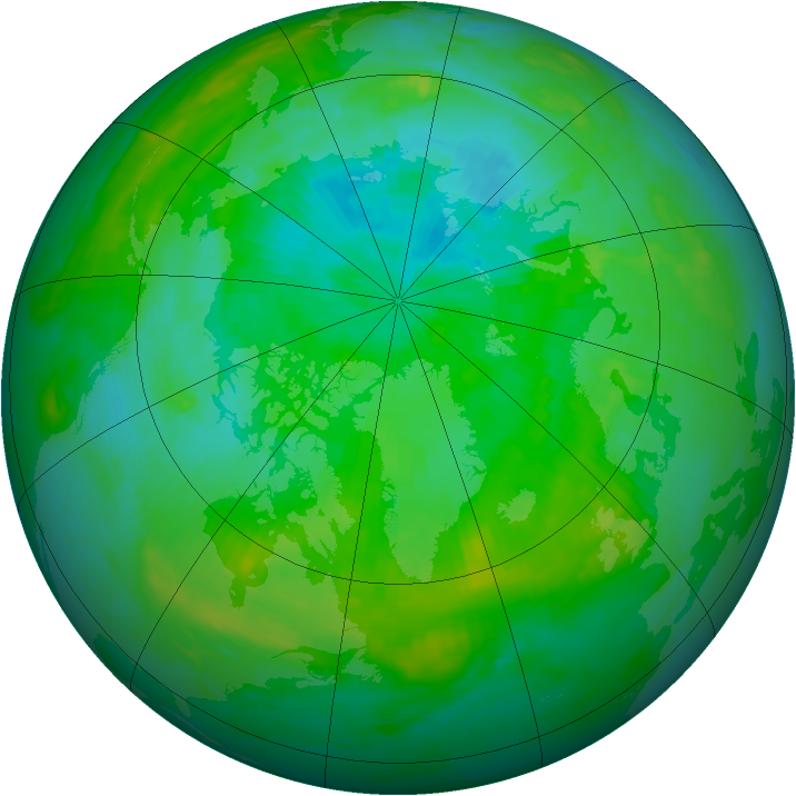 Arctic ozone map for 03 August 1992