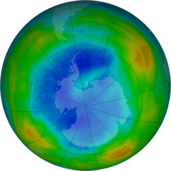Antarctic ozone map for 05 August 1992