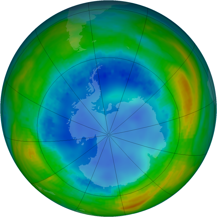 Antarctic ozone map for 06 August 1992