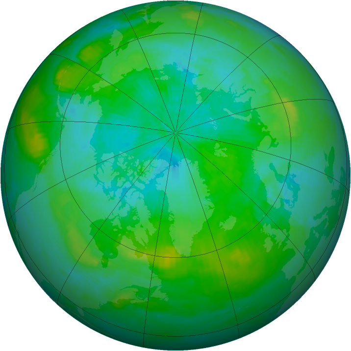 Arctic ozone map for 10 August 1992