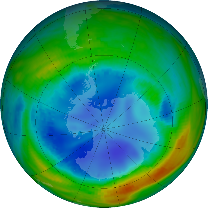 Antarctic ozone map for 11 August 1992