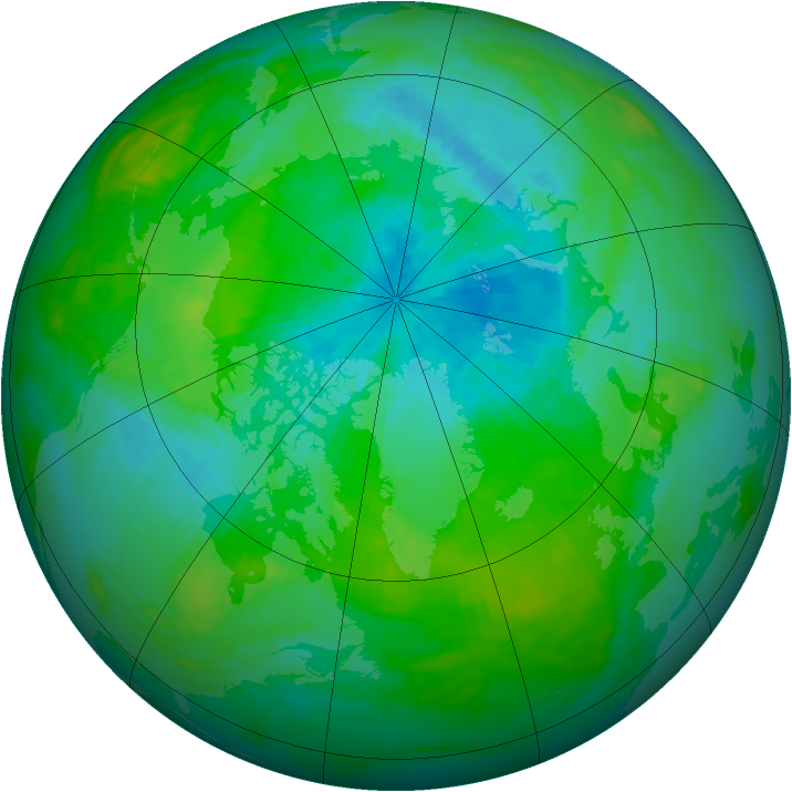 Arctic ozone map for 18 August 1992