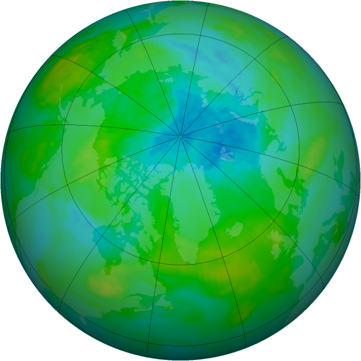 Arctic ozone map for 19 August 1992