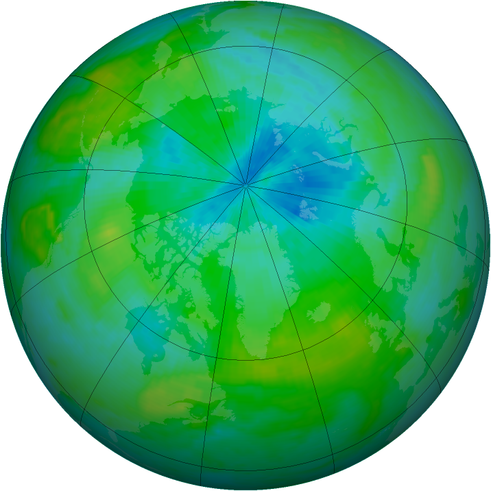 Arctic ozone map for 20 August 1992