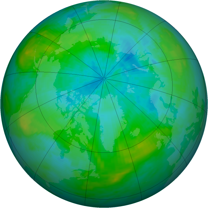 Arctic ozone map for 23 August 1992
