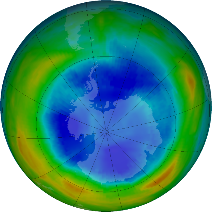 Antarctic ozone map for 23 August 1992