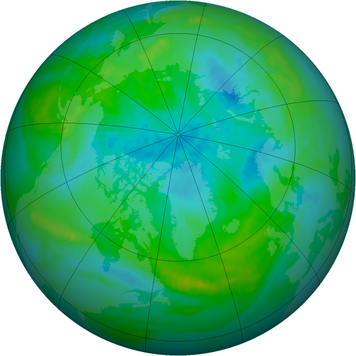 Arctic ozone map for 25 August 1992