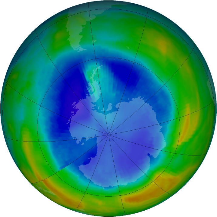 Antarctic ozone map for 29 August 1992