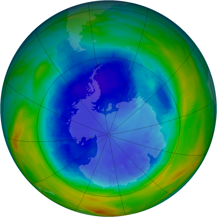 Antarctic ozone map for 31 August 1992