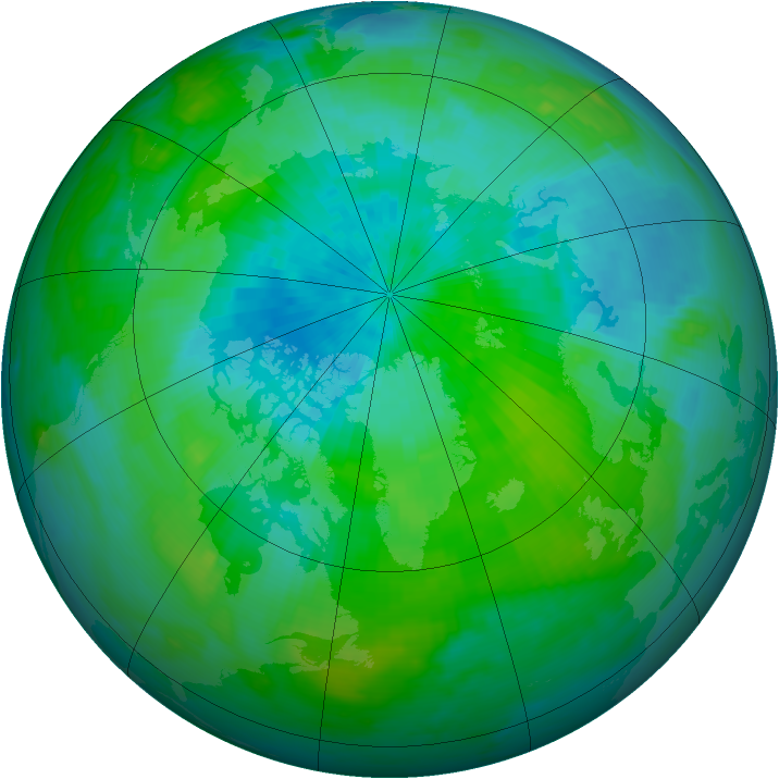 Arctic ozone map for 03 September 1992