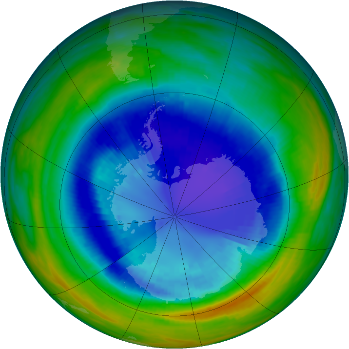 Antarctic ozone map for 03 September 1992