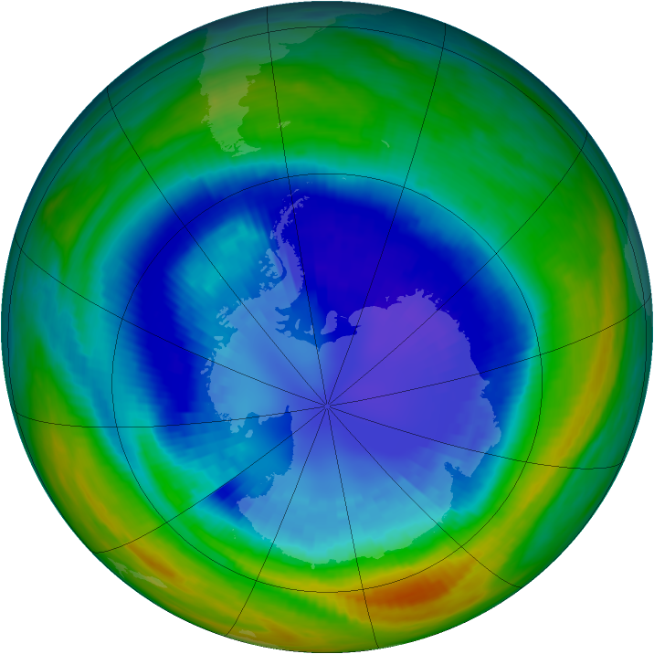 Antarctic ozone map for 04 September 1992
