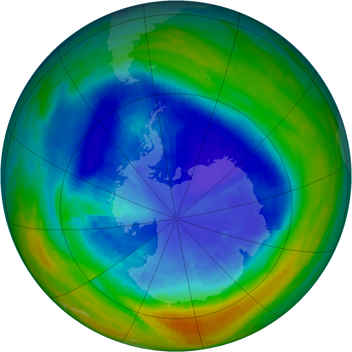 Antarctic ozone map for 05 September 1992