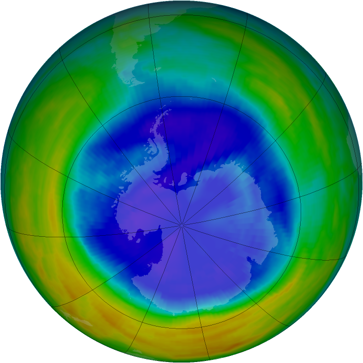 Antarctic ozone map for 09 September 1992