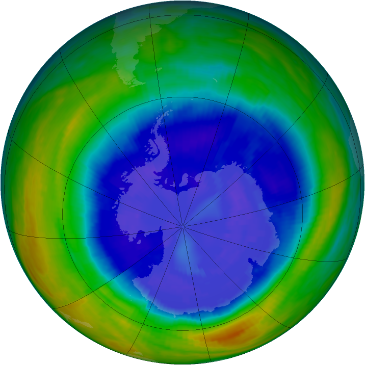 Antarctic ozone map for 12 September 1992
