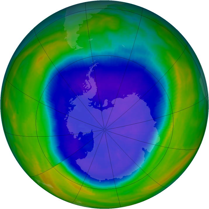 Antarctic ozone map for 19 September 1992