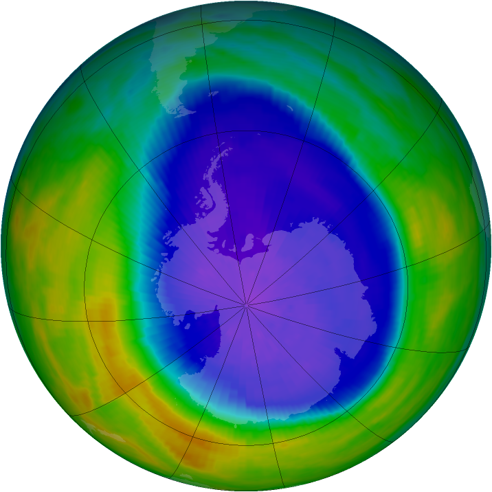 Antarctic ozone map for 24 September 1992