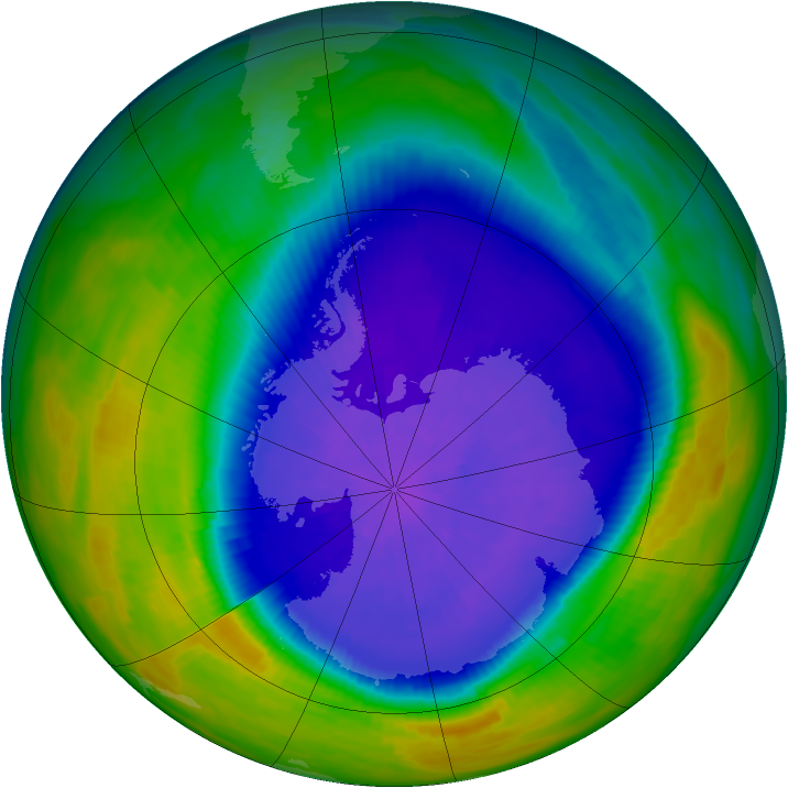 Antarctic ozone map for 26 September 1992