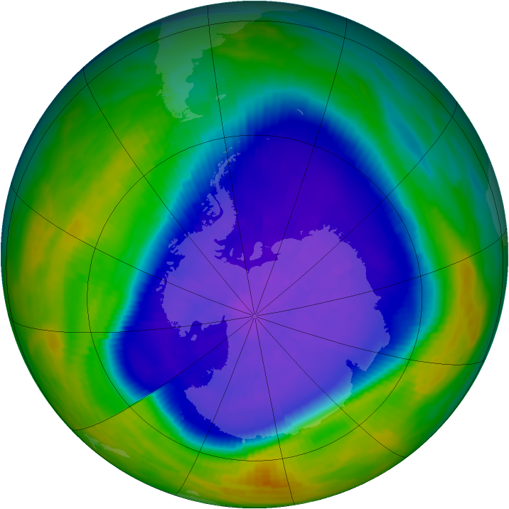 Antarctic ozone map for 27 September 1992