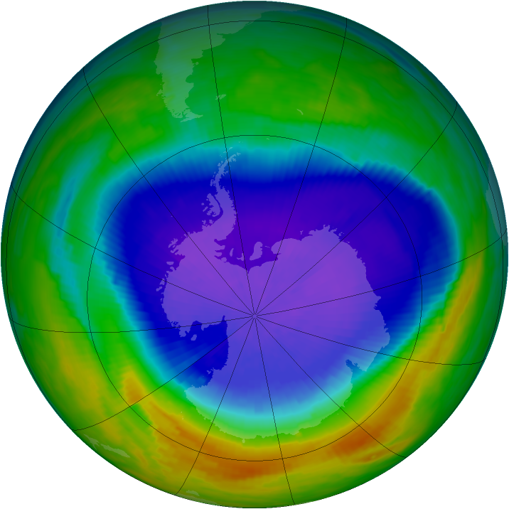 Antarctic ozone map for 30 September 1992